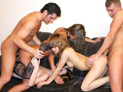 Badass college femmes deepthroat big jizz-shotguns at steaming party